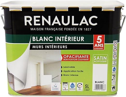 Renaulac Peinture Intérieur Murs Plafonds Bicouche Acrylique Blanc Satin 5l 50m