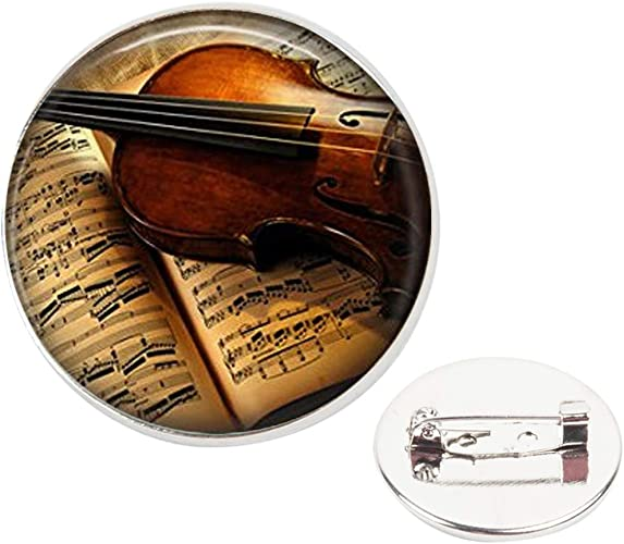 Music Violin Plated Lapel Pin Badge