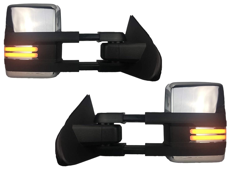 For 07-13 Silverado Power Tow Mirror Heated w//LED Turn Signal Backup Lamp BLACK