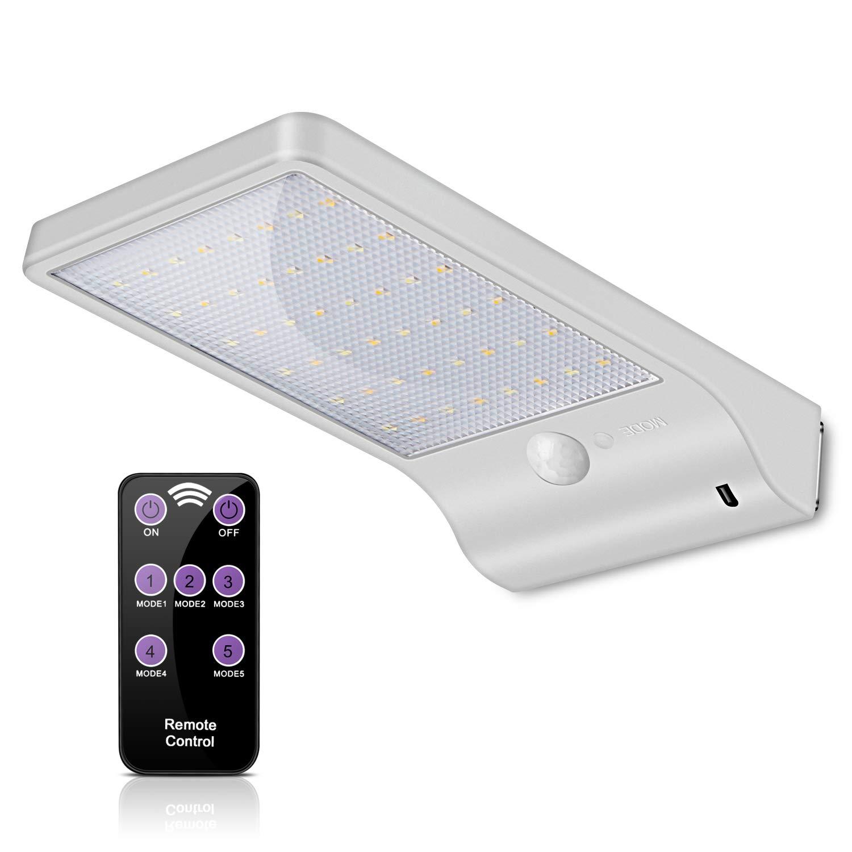 Lampes Solaires 48 LED avec Télécommande, ECHTPower Lampe Solaire Jardin Extérieur 7 Températures de Couleur Ajustables du Blanc Froid au Blanc Chaud, Lumière Mural Étanche à Détecteur de Mouvement product image