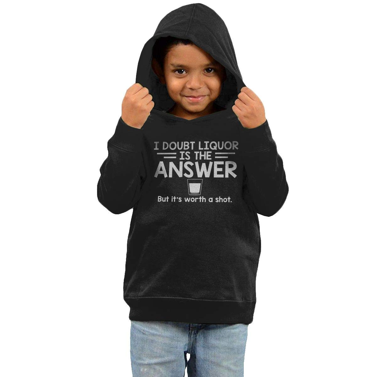 Childrens Hooded Sweater I Doubt That Liquor is The Answer But Its Worth A Shot Girl Sweater Black