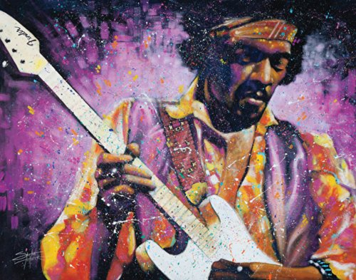 Stephen Fishwick Jimi Hendrix Watchtower Classic Rock Music Guitar Legend Celebrity Art Postcard Poster Print 11x14