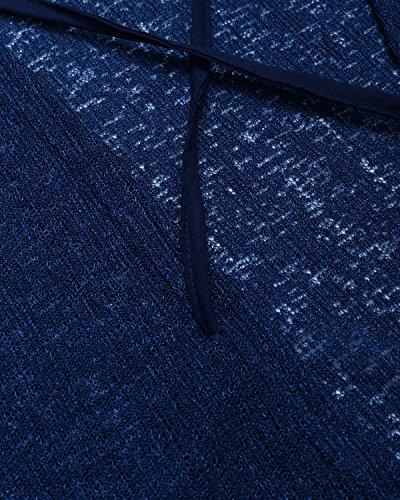 Pullover JackenLOVE Autunno Bende Maglie Manica Senza T Jumper Lunga Primavera Tops Alto Shirt Blu Moda Schienale a e Maglione Donna Collo Maglieria Casual Sweater qq01SrE