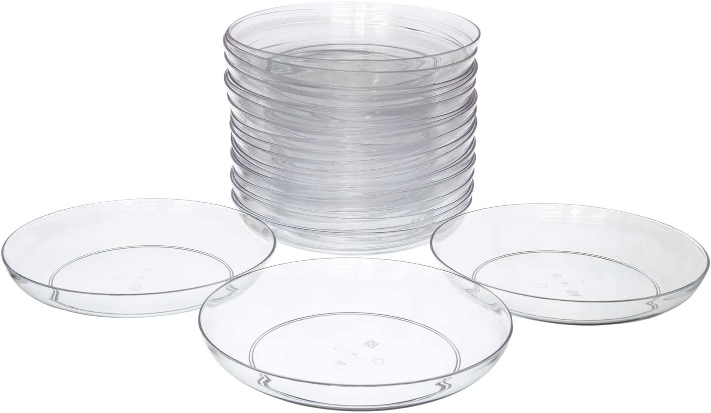 """9"""" Clear Acrylic Low Pie Plate, Floral Flower Dish, Wedding, Party, Home and Holiday Decor, 24 Pack"""