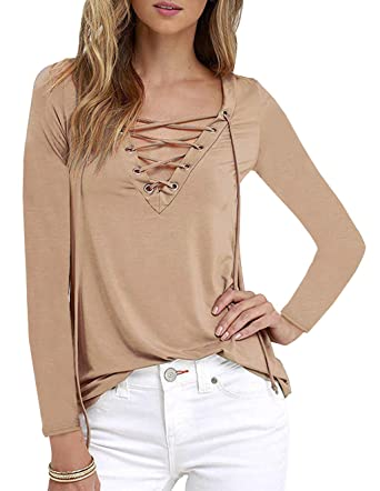 c9ac8e428d Clearance Womens Casual Choker Deep V Neck Long Sleeve Top Ladies Lace Up  Loose Fit Criss Cross Front Blouse Shirt Plus Size Plain Basic T-Shirt Tops  ...