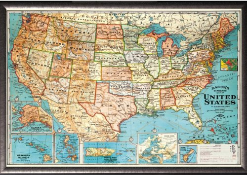 Framed Perfect For Push Pins Usa Map Vintage Look Poster In Silver Finish Wood
