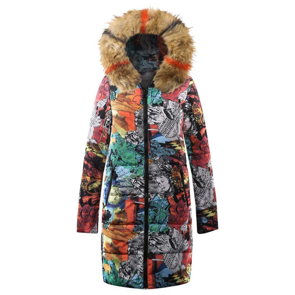Fantaisiez Manteaux Femme Imprimé Décontractée Veste épais Automne Hiver Chaud Manteau Long Femmes Doudoune Coton à Capuche Coat Outwear