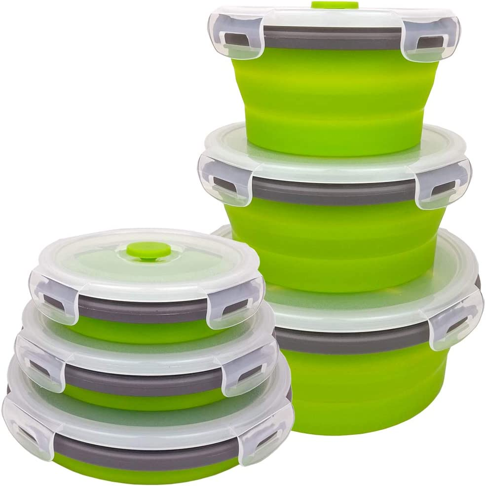 CARTINTS Green Silicone Collapsible Food Storage Containers-Prep/Storage Bowls with Lids - Round Silicone Food Storage Containers - Microwave and Freezer Safe 3Pack
