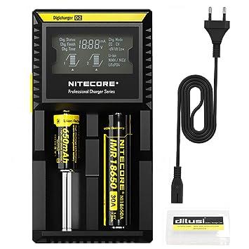 Nitecore D2 Cargador de Baterías para Cargar AA, AAA, Ni-MH Ni-CD y Li-Ion Cilíndrico Pila Recargable. Li-Ion:17670, 17500, 18490, 18650, 16340 ...