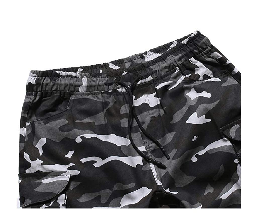 Unastar Mens Big /& Tall Elastic Waist Luxury Shorts Multicamo Short Pants