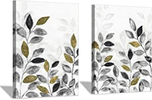 Abstract Leaves Canvas Wall Art: Gold and Dark Leaf Paintings Foil Foliage Pictures for Bedroom (18x24x2 Panels)