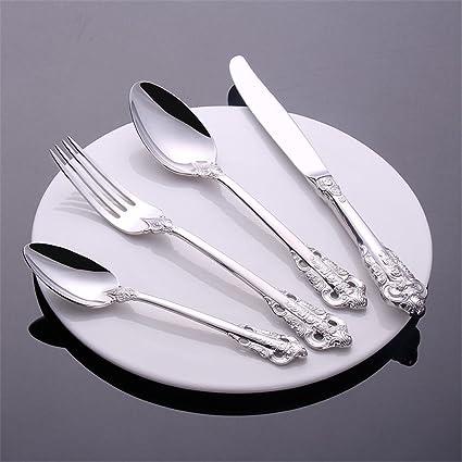 HONGLINordic corte acero inoxidable plata anti-bacterias ligero tallado cuatro piezas conjunto de vajilla (