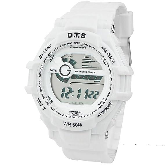 Mens reloj digital digital luminoso piscina relojes deportivos impermeables-L: Amazon.es: Relojes