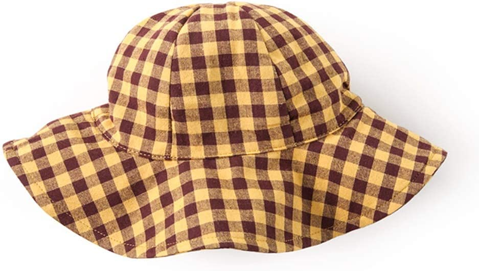 Fashion Plaid Style boy and Girl Color : Yellow Brown Grid, Size : L Chin Rope UV Protection Wide-Brimmed hat XF Sun hat Spring and Summer Thin Section Fisherman hat