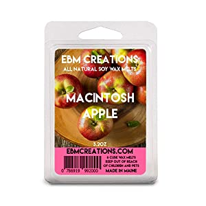 Macintosh Apple - Scented All Natural Soy Wax Melts - 6 Cube Clamshell 3.2oz Highly Scented!