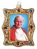 Pinnacle Peak Trading Company Pope John Paul II Portrait Polish Glass Christmas Ornament Catholic Ornament