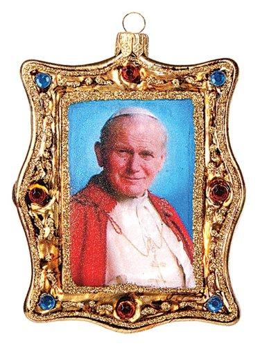 Pinnacle Peak Trading Company Pope John Paul II Portrait Polish Glass Christmas Ornament Catholic Ornament by Pinnacle Peak Trading Company