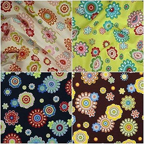 Baumwollstoff uni 100/% Stoffe Meterware Baumwolle 50 cm  Bunte Blumen Folk Retro