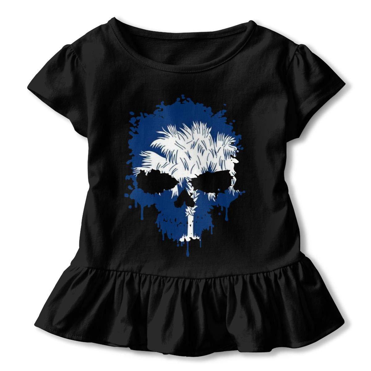 Short-Sleeve South Carolina Skull Shirts for Children Ruffled Tunic Tops with Falbala 2-6T