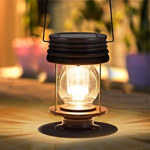 "pearlstar Hanging Solar Light Outdoor 8.3"" Big Retro LED Garden Solar Lantern with Handle for Pathway Yard Patio Tree Decor Waterproof Table Lamp (8.3"" Big Size-1pack)"