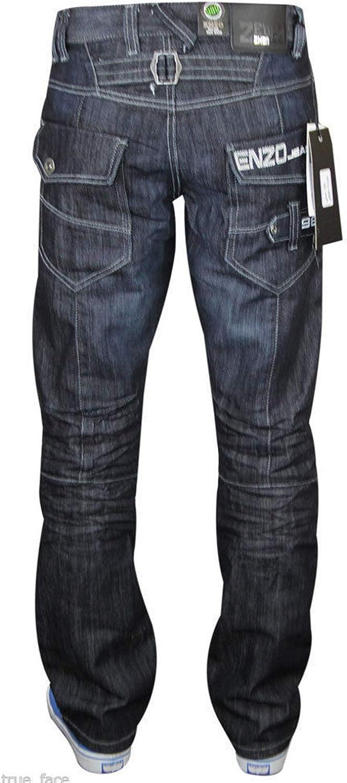 BNWT Enzo Mens Designer Branded Washed Denim Shorts Darkwash//Stonewash//Bleach