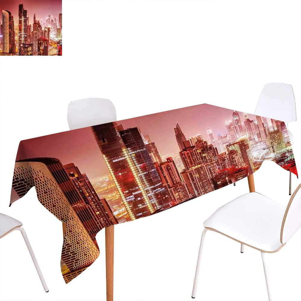 """familytaste Cityscape Dinning Tabletop Decoration Dubai at Night Cityscape with Tall Skyscrapers Panorama Picture Arabian Peninsula Table Cover for Kitchen 70""""x90"""" Pink Gold"""
