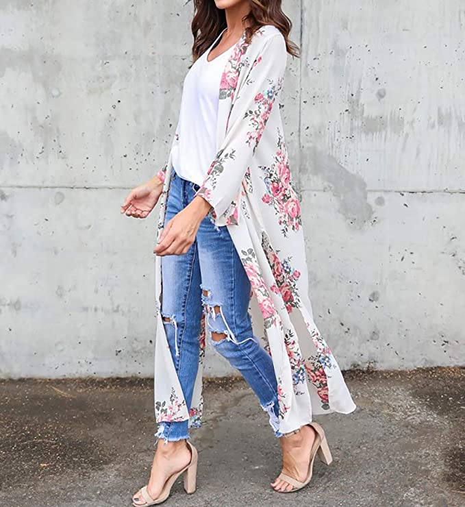 fdfe5fc069 MeiLing Women's Print Bikini Bathing Suit Swimsuit Cover up Dress Chiffon  Long Kimono Cardigan Beachwear (Floral Printed 23): Amazon.in: Clothing &  ...