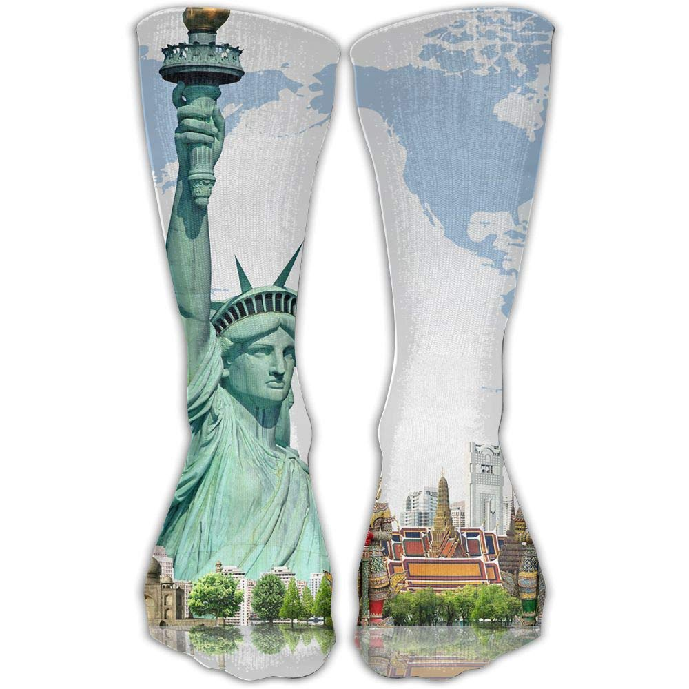 Protect Wrist For Cycling Moisture Control Elastic Sock Tube Socks New York Statue Of Liberty Athletic Soccer Socks