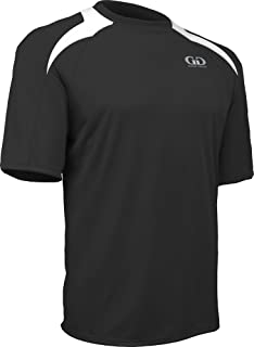 product image for PT-818S-CB Men's Performance Loose Fit AthleticShirt with White Lightning Shoulder Panel-Great for Cross Training, Weight Lifting, or Sport Competition (Medium, Black/White)