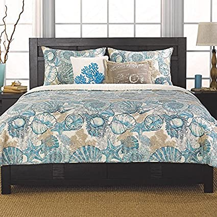 Brushed Ashore Beach House Coastal 3 Piece King Size Quilt Bedroom Set  Coral Seashell Starfish Tropical