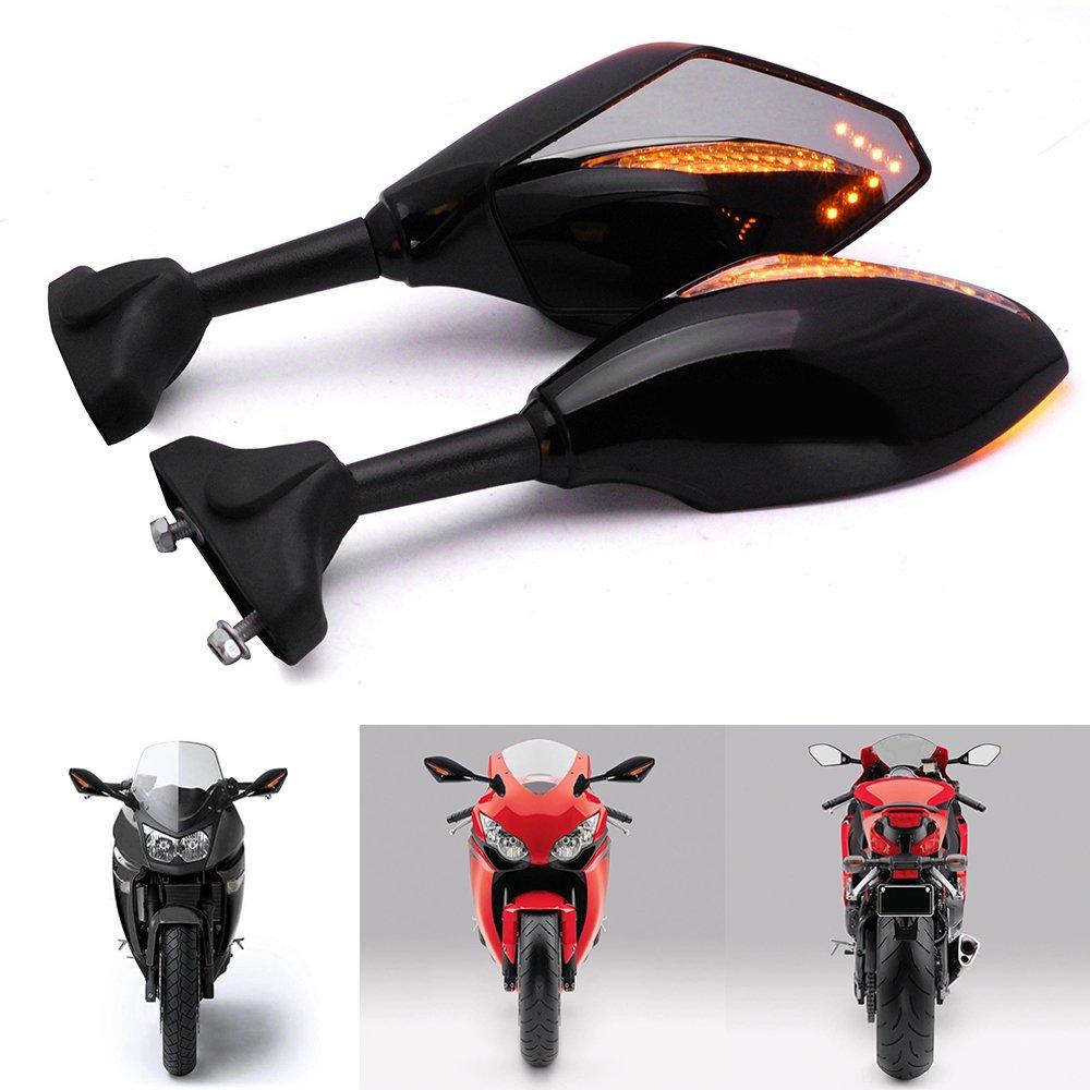 Black Integrated Amber LED Turn Signal Blinker Rearview Side Mirrors Smoke Lens Arrow Accent Light For Honda CBR 600 929 954 1000 XX RR F1 F4 F4i
