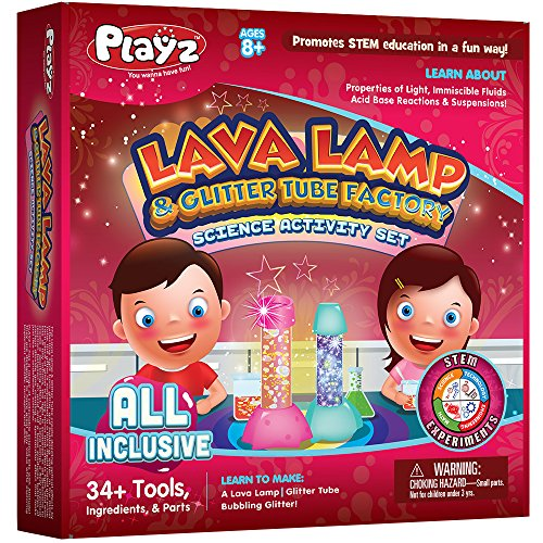 Halloween Activities For School Agers (Playz Lava Lamp & Glitter Tube Arts and Craft Science Activity Set - 34+ Tools to Make a Lava Lamp, Glitter Tube, Bubbling Glitter & More for Girls, Boys, Teenagers,)