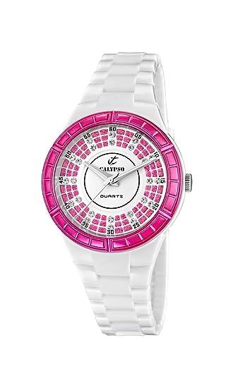 Calypso watches K5582/2 - Reloj analógico de cuarzo para niña, correa de goma color blanco: Calypso: Amazon.es: Relojes