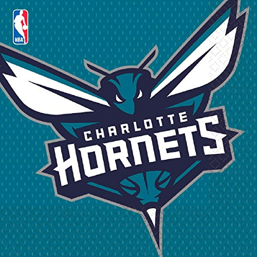 Amscan NBA Party Charlotte Hornets Luncheon Napkins Tableware, Saver Pack of 6 (Each Includes 16 Pieces), Made from (Charlotte Flatware)