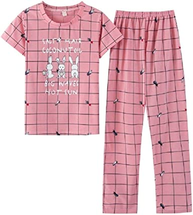 Pijamas Damas De Verano De Manga Corta De Algodón Pijama ...
