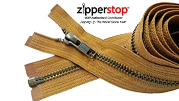 28 inch Orange /& Antique Brass Metal #5 YKK Separating Zipper New!