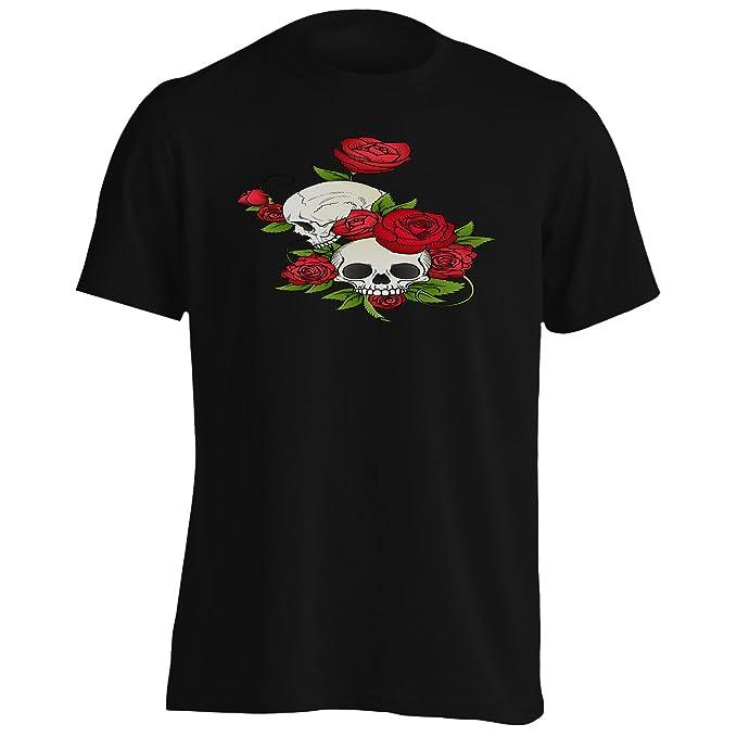 Calavera Rosas Rojas Camiseta de los hombres u636m