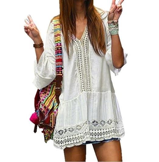 White 2018 Bohemian Womens Summer White Dress Sexy Casual V Neck 3 4 Flare  Sleeve 0424effdbb9