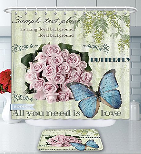 Aoreeo Bathroom Two-Piece Set Bouquet Pink Roses European Hand-Painted Flowers Blue Butterfly Amazing Floral Background All You Need is Shower Curtain Bath Rug Set, 71