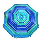 Shadezilla 8 ft Platinum Heavy Duty Beach Umbrella with Reinforced Fiberglass Ribs, Carry