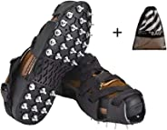 Ice Cleats Cover Crampons Traction Snow Grips with 32 Spikes for Hiking Boots, Shoes, Mountain Climbing, Fishing, Walking on Gravel, Hillside Trail, Snow and Ice with Storage Bag.(Free Size:8-13 )
