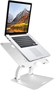 AVLT Laptop Riser Stand - Solid Aluminum Laptop Cooling Stand- Height Adjustable Holder Laptop Stand for Desk Elevates 11.8 inches for MacBook, MacBook Pro, Hp, Dell, Lenovo, Asus– Silver