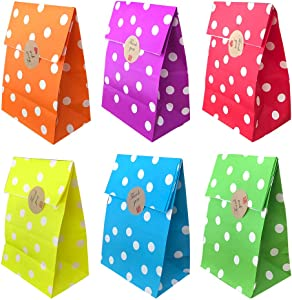 Future life 30 pcs Polka dot Party favor Paper Bags, 5.2 * 3.2 * 9.6 Inch, Food Safe Kraft Paper and Ink, Natural (Biodegradable), Red, Orange, Yellow,Light green, Purple, Sky Blue, Give Away Bags.