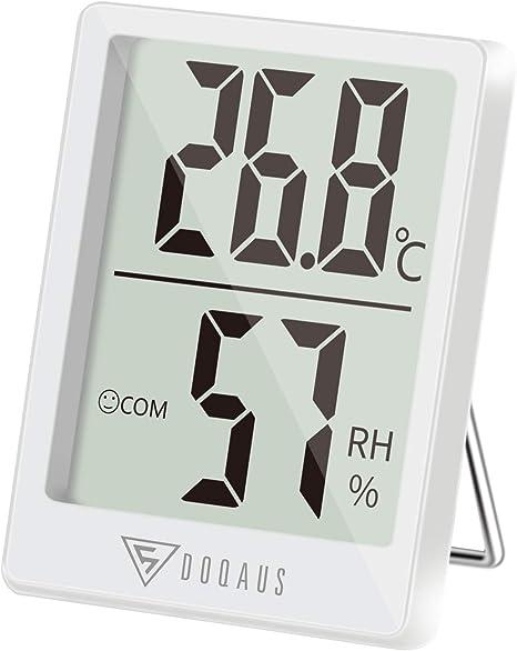 B/üro Wei/ß iKALULA Digitales Hygrometer Thermometer Innen Digitales Thermo Hygrometer mit Wecker und 2s Schnelle Erkennung USB Aufladbar Temperatur und Feuchtigkeitsmesser f/ür Babyraum Wohnzimmer