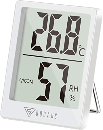 DOQAUS Room Thermometer Black Digital Indoor Hygrometer Mini Temperature Monitor and Humidity Meter for Home Office Greenhouse Baby Nursery Comfort
