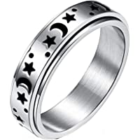 Timetries01 Titanium Stainless Steel Spinner Rings, Moon and Star Fidget Ring Stress Relieving Anxiety Ring Engagement…