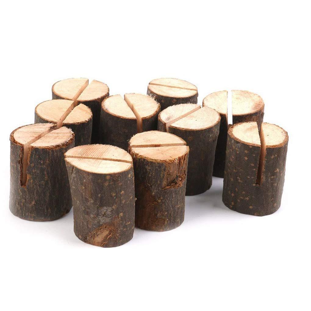 Aiming 10pcs Holz Stump-Entwurfs-Visitenkarten-Halter Hochzeit Namen-Platz-Kartenst/änder B/üro-Schreibtisch-Men/ü Foto Clips