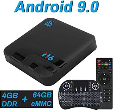 Android TV Box, Android 9.0 Allwinner H6 4GB RAM 64GB ROM, Compatible con 6K 3D H.265, Smart TV Box USB 3.0 BT 4.0 con Mini Teclado Dual-Band WiFi HDMI: Amazon.es: Electrónica
