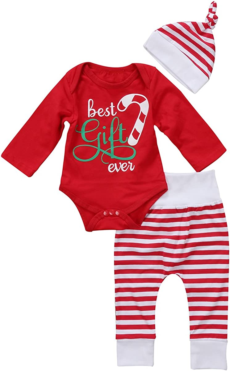 Baby Unisex Newborn First Christmas Clothe Romper Red Color Trousers Hat Outfits