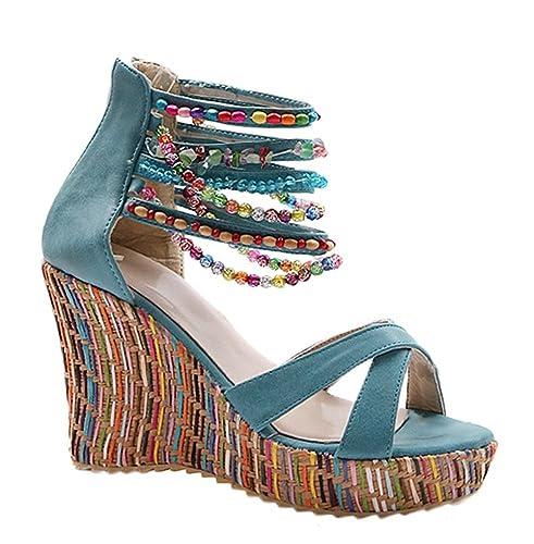 a1a48c37c0a Lazutom Women Lady Summer Bohemian Beads Ankle Strap Platform Wedges Casual  Summer Sandals (EU 34